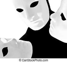 performer mime with mask - performer man mime with mask on...