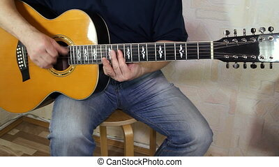 performer playing on the acoustic guitar. Musical instrument...