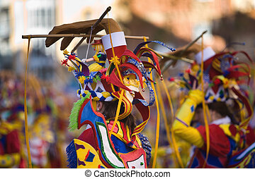 Performers take part in the Carnival parade of comparsas at Badajoz, Spain