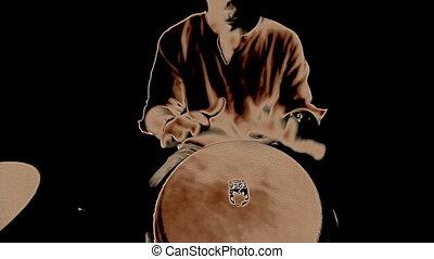 performing., agrafe, inclut, élevé, batteur, congo, audio, qualité