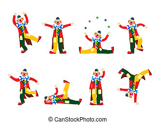 Performing clowns - Circus clown collection, isolated ...