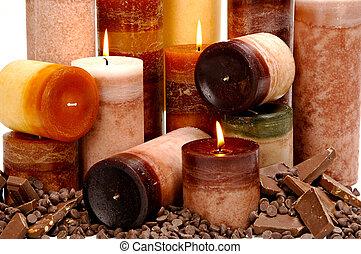 perfumado, chocolate, velas