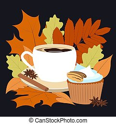 perfumado, conceito, muffin, ano, cinnamon., laranja, fall., apetitoso, anis, -, warms, vector., amarela, café, ilustração, vermelho, condimentos, folhas, autumn., luminoso, nós, layered, tempo