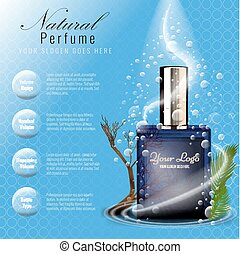 Perfume ads template with glass bottle mockup - Perfume ads...
