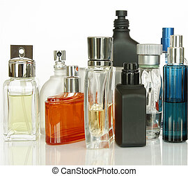Perfume and Fragrances bottles isolated in white background.
