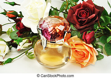 Perfume and roses - Woman perfume and roses and white ...