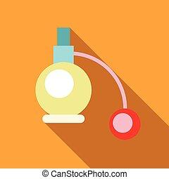 Perfume atomizer icon, flat style