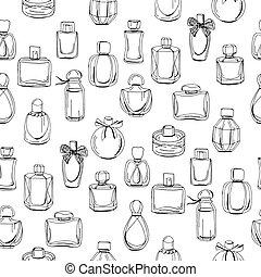 perfume., beschaffenheit, muster- design, mode, verpackungen, frau, fabrics., verschieden, seamless, flaschen, endlos