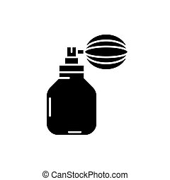 Perfume black icon, vector sign on isolated background. Perfume concept symbol, illustration