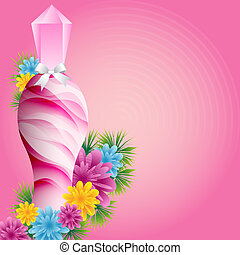 Perfume bottle and flowers - Perfume bottle with flowers and...