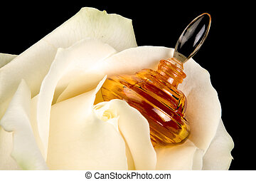 Perfume bottle in a rose