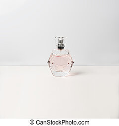 Perfume bottle on white background. Perfumery, cosmetics.