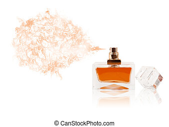 Perfume bottle spraying colored scent - Perfume bottle...