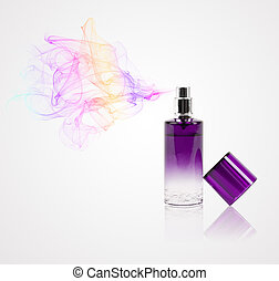 Perfume bottle spraying colored scent - Perfume bottle ...