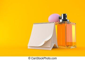 Perfume bottle with blank calendar