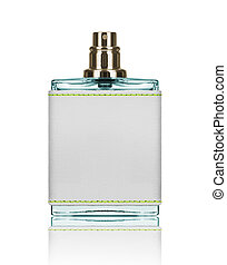 perfume bottle with blank label isolated on white background