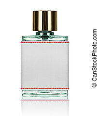 perfume bottle with blank label isolated on white