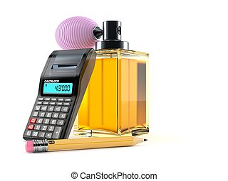 Perfume bottle with calculator and pencil