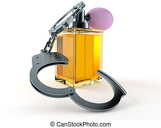 Perfume bottle with handcuffs