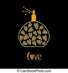 Perfume bottle with hearts inside. Gold sparkles glitter texture Black background Love