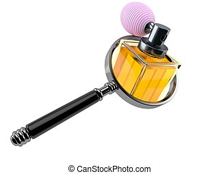 Perfume bottle with magnifying glass
