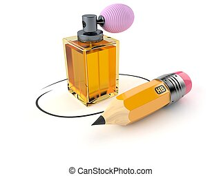 Perfume bottle with pencil