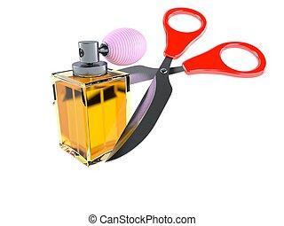 Perfume bottle with scissors