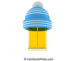 Perfume bottle with winter hat