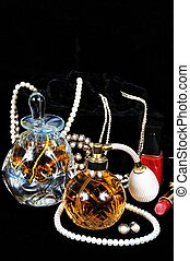 Perfume bottles and jewellery. - Perfume atomiser bottle,...