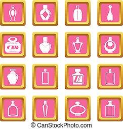 Perfume bottles icons pink