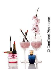 cosmetics and cherry flower