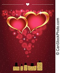 Perfume bottles with hearts inside. Gold sparkles glitter texture.
