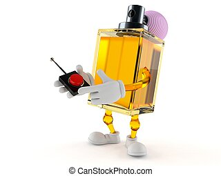 Perfume character pushing button on white background