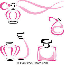 Perfume containers - Symbol of fragrance in bottles isolated...