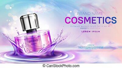 Perfume cosmetic bottle on splashing water surface
