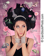 Beautiful young woman surrounded by floating perfume bottles in a glamour portrait