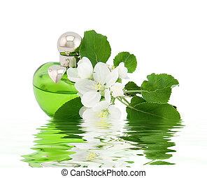 perfume garrafa, e, flor