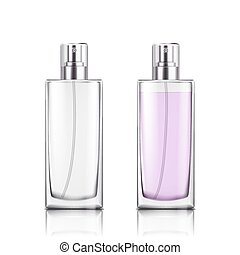 Perfume glass bottle on white background isolated vector illustration