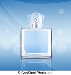Perfume glass square bottle 3d realistic vector illustration mockup on the blue.