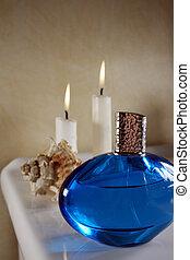 Perfume in blue bottle
