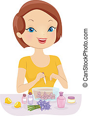 Perfume Making - Illustration of a Girl Making Homemade...