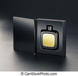 perfume, negro, fragancia, botella, mockup