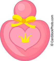 Perfume pink icon, cartoon style. Isolated on white background. Vector illustration.