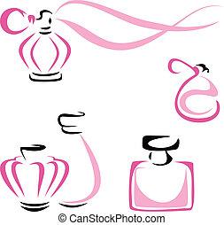 perfume, recipientes
