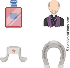 perfume, Russia and other web icon in cartoon style.religion, hippodrome icons in set collection.