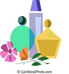 perfume set next to flowers - care bottles set next to...
