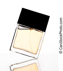 Perfume - Silhouette of perfume bottle on a white backdrop
