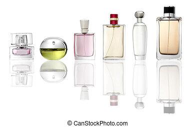 Perfume - Studio photo of set of luxury perfume bottles. ...