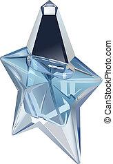 perfume - vector star shape perfume bottle on white...