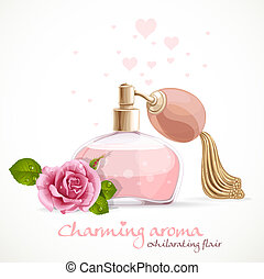 Perfume with charming aroma in bottle isolated on a white background